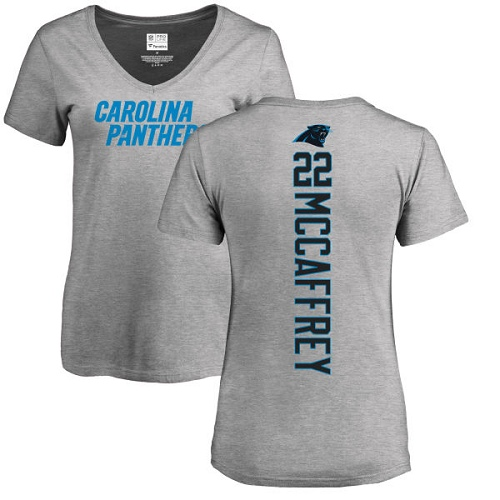 Carolina Panthers Ash Women Christian McCaffrey Backer V-Neck NFL Football 22 T Shirt