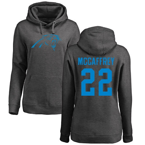 Carolina Panthers Ash Women Christian McCaffrey One Color NFL Football 22 Pullover Hoodie Sweatshirts