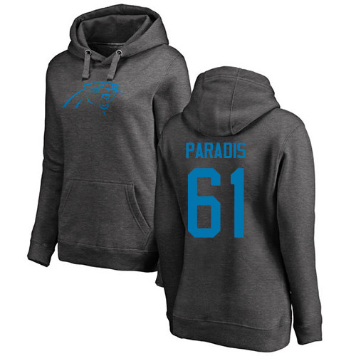 Carolina Panthers Ash Women Matt Paradis One Color NFL Football 61 Pullover Hoodie Sweatshirts
