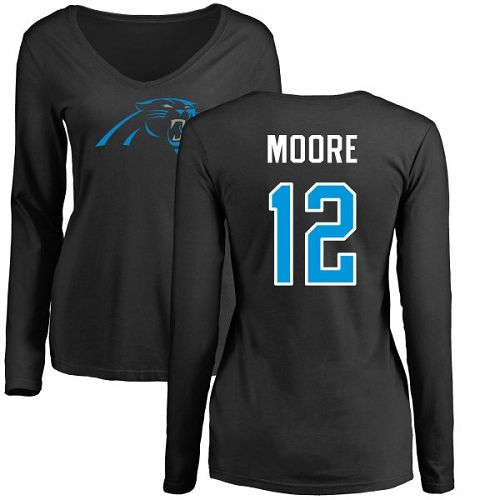 Carolina Panthers Black Women DJ Moore Name and Number Logo Slim Fit NFL Football 12 Long Sleeve T Shirt