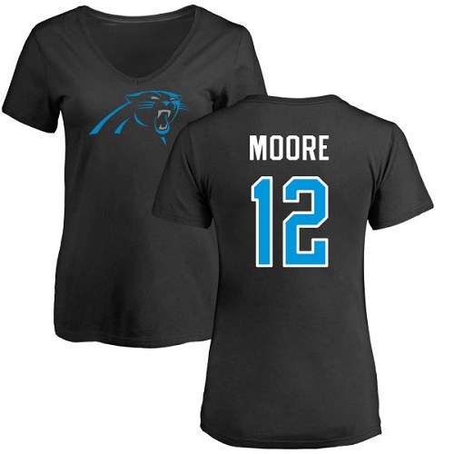 Carolina Panthers Black Women DJ Moore Name and Number Logo Slim Fit NFL Football 12 T Shirt
