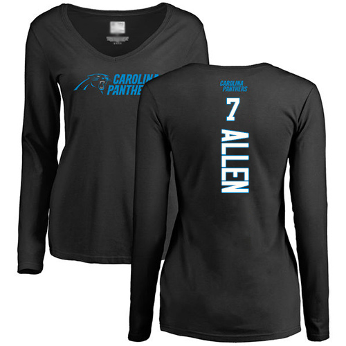 Carolina Panthers Black Women Kyle Allen Backer Slim Fit NFL Football 7 Long Sleeve T Shirt