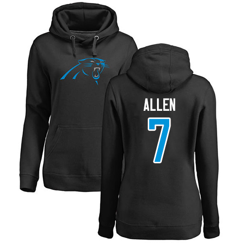 Carolina Panthers Black Women Kyle Allen Name and Number Logo NFL Football 7 Pullover Hoodie Sweatshirts