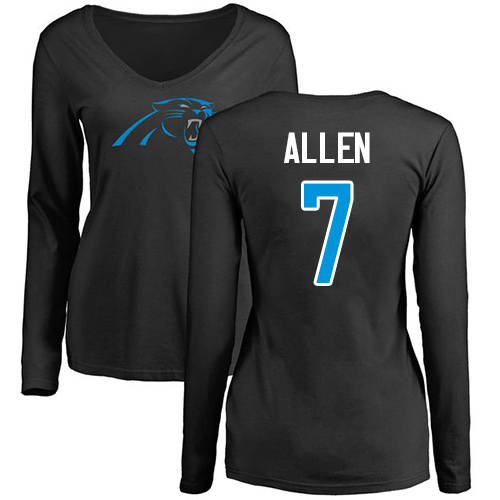 Carolina Panthers Black Women Kyle Allen Name and Number Logo Slim Fit NFL Football 7 Long Sleeve T Shirt