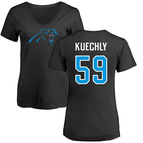 Carolina Panthers Black Women Luke Kuechly Name and Number Logo Slim Fit NFL Football 59 T Shirt
