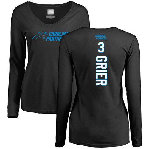 Carolina Panthers Black Women Will Grier Backer Slim Fit NFL Football 3 Long Sleeve T Shirt