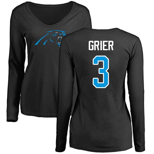 Carolina Panthers Black Women Will Grier Name and Number Logo Slim Fit NFL Football 3 Long Sleeve T Shirt
