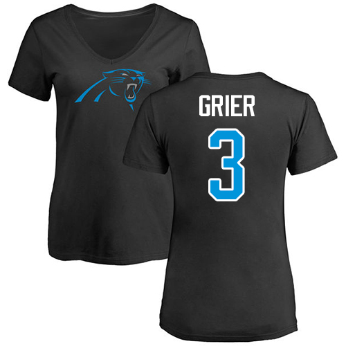 Carolina Panthers Black Women Will Grier Name and Number Logo Slim Fit NFL Football 3 T Shirt