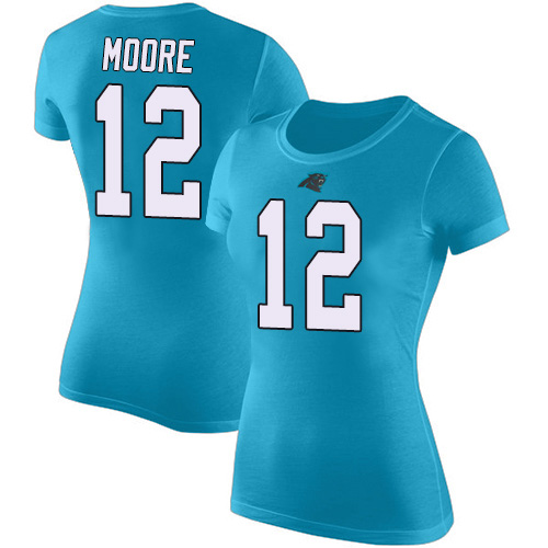 Carolina Panthers Blue Women DJ Moore Rush Pride Name and Number NFL Football 12 T Shirt