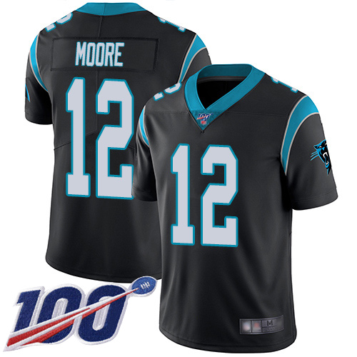 Carolina Panthers Limited Black Men DJ Moore Home Jersey NFL Football 12 100th Season Vapor Untouchable