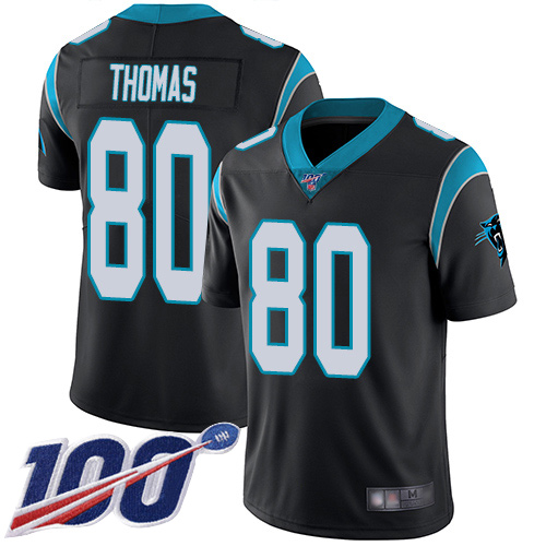 Carolina Panthers Limited Black Youth Ian Thomas Home Jersey NFL Football 80 100th Season Vapor Untouchable