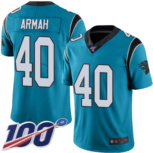 Carolina Panthers Limited Blue Men Alex Armah Jersey NFL Football 40 100th Season Rush Vapor Untouchable