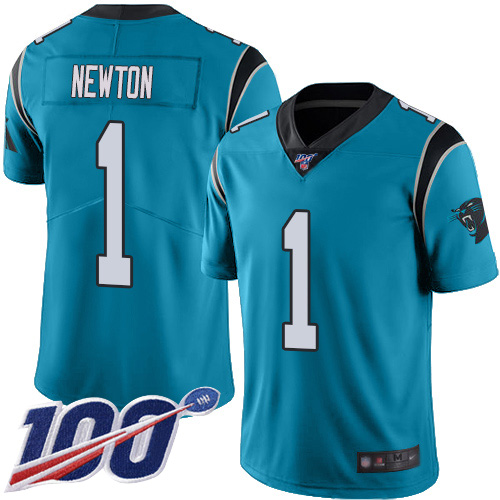 Carolina Panthers Limited Blue Men Cam Newton Jersey NFL Football 1 100th Season Rush Vapor Untouchable