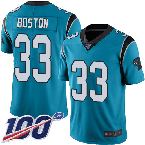 Carolina Panthers Limited Blue Men Tre Boston Jersey NFL Football 33 100th Season Rush Vapor Untouchable