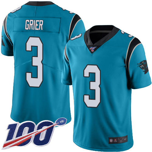 Carolina Panthers Limited Blue Men Will Grier Jersey NFL Football 3 100th Season Rush Vapor Untouchable