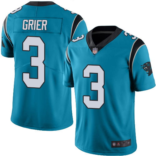 Carolina Panthers Limited Blue Men Will Grier Jersey NFL Football 3 Rush Vapor Untouchable