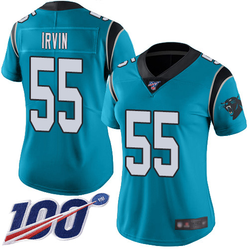 Carolina Panthers Limited Blue Women Bruce Irvin Jersey NFL Football 55 100th Season Rush Vapor Untouchable