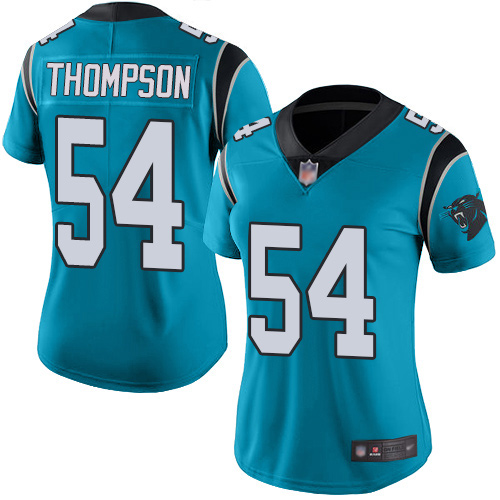 Carolina Panthers Limited Blue Women Shaq Thompson Jersey NFL Football 54 Rush Vapor Untouchable