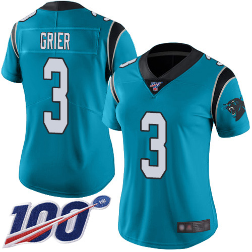 Carolina Panthers Limited Blue Women Will Grier Alternate Jersey NFL Football 3 100th Season Vapor Untouchable