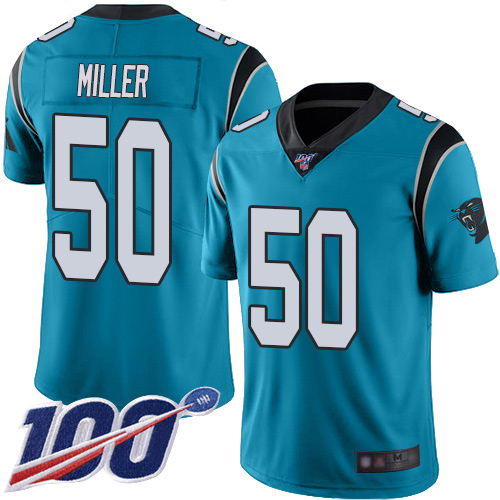 Carolina Panthers Limited Blue Youth Christian Miller Alternate Jersey NFL Football 50 100th Season Vapor Untouchable