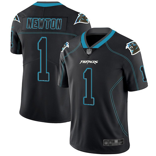 Carolina Panthers Limited Lights Out Black Men Cam Newton Jersey NFL Football 1 Rush
