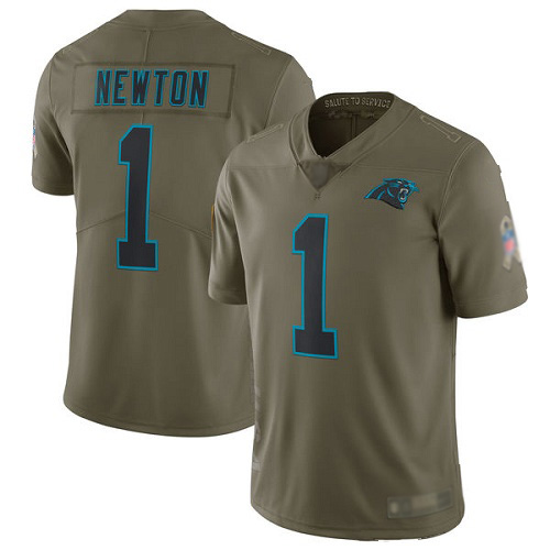 Carolina Panthers Limited Olive Men Cam Newton Jersey NFL Football 1 2017 Salute to Service