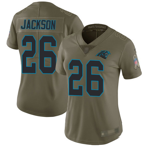 Carolina Panthers Limited Olive Women Donte Jackson Jersey NFL Football 26 2017 Salute to Service