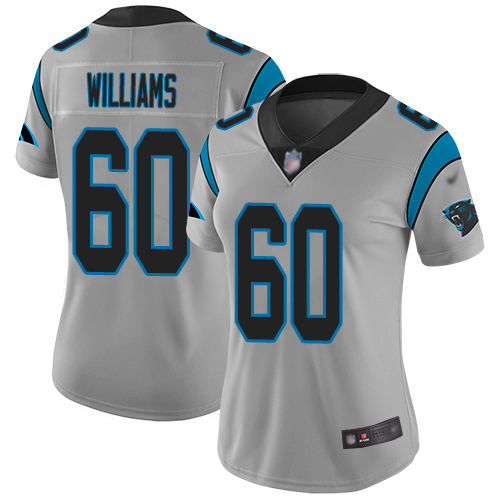 Carolina Panthers Limited Silver Women Daryl Williams Jersey NFL Football 60 Inverted Legend