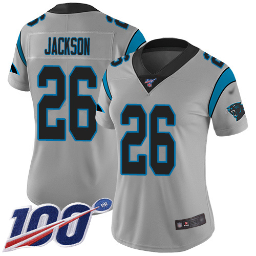 Carolina Panthers Limited Silver Women Donte Jackson Jersey NFL Football 26 100th Season Inverted Legend