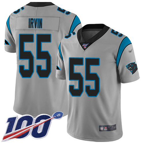 Carolina Panthers Limited Silver Youth Bruce Irvin Jersey NFL Football 55 100th Season Inverted Legend
