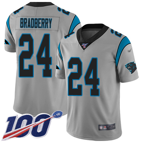 Carolina Panthers Limited Silver Youth James Bradberry Jersey NFL Football 24 100th Season Inverted Legend