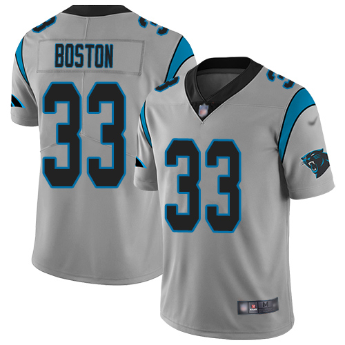 Carolina Panthers Limited Silver Youth Tre Boston Jersey NFL Football 33 Inverted Legend