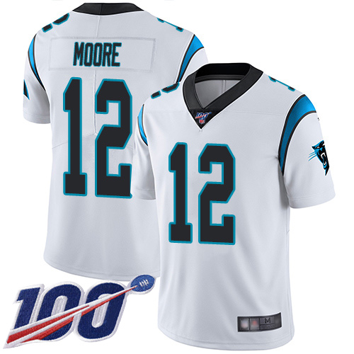 Carolina Panthers Limited White Men DJ Moore Road Jersey NFL Football 12 100th Season Vapor Untouchable