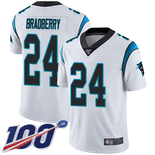 Carolina Panthers Limited White Men James Bradberry Road Jersey NFL Football 24 100th Season Vapor Untouchable