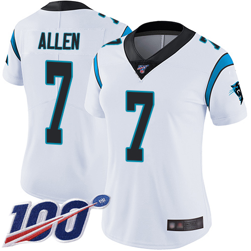 Carolina Panthers Limited White Women Kyle Allen Road Jersey NFL Football 7 100th Season Vapor Untouchable