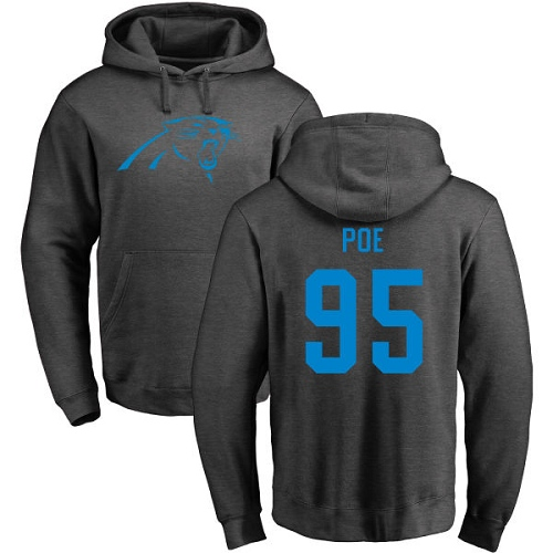Carolina Panthers Men Ash Dontari Poe One Color NFL Football 95 Pullover Hoodie Sweatshirts