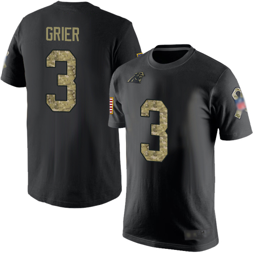 Carolina Panthers Men Black Camo Will Grier Salute to Service NFL Football 3 T Shirt