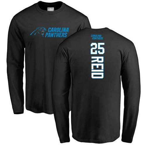 Carolina Panthers Men Black Eric Reid Backer NFL Football 25 Long Sleeve T Shirt