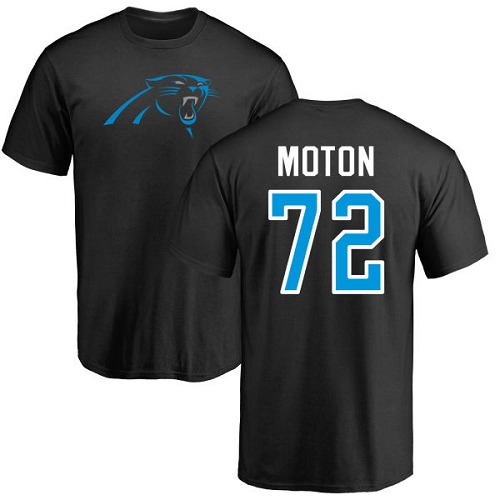 Carolina Panthers Men Black Taylor Moton Name and Number Logo NFL Football 72 T Shirt