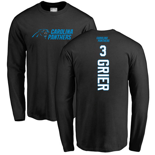 Carolina Panthers Men Black Will Grier Backer NFL Football 3 Long Sleeve T Shirt