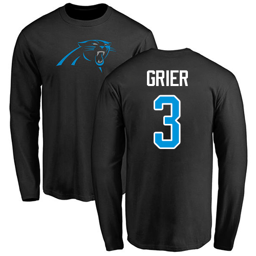 Carolina Panthers Men Black Will Grier Name and Number Logo NFL Football 3 Long Sleeve T Shirt