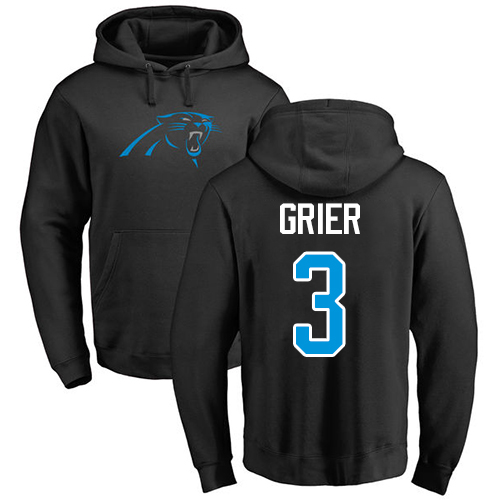 Carolina Panthers Men Black Will Grier Name and Number Logo NFL Football 3 Pullover Hoodie Sweatshirts
