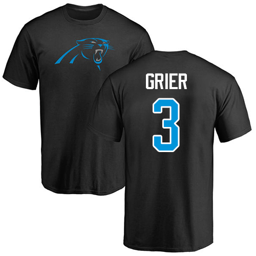 Carolina Panthers Men Black Will Grier Name and Number Logo NFL Football 3 T Shirt