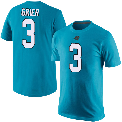 Carolina Panthers Men Blue Will Grier Rush Pride Name and Number NFL Football 3 T Shirt