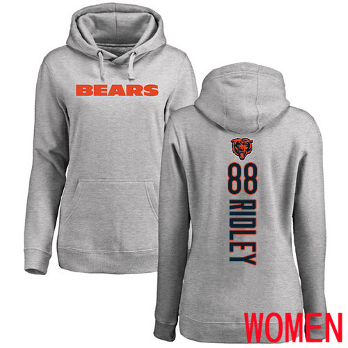 Chicago Bears Ash Women Riley Ridley Backer NFL Football 88 Pullover Hoodie Sweatshirts