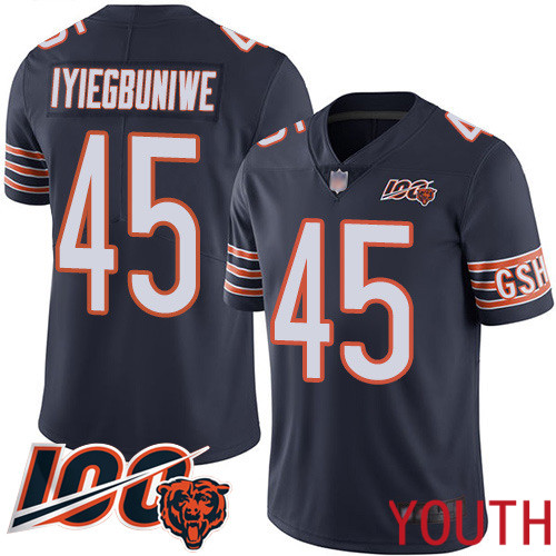 Chicago Bears Limited Navy Blue Youth Joel Iyiegbuniwe Home Jersey NFL Football 45 100th Season