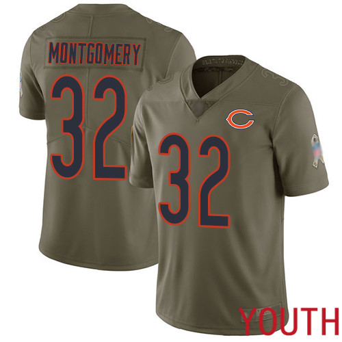 Chicago Bears Limited Olive Youth David Montgomery Jersey NFL Football 32 2017 Salute to Service