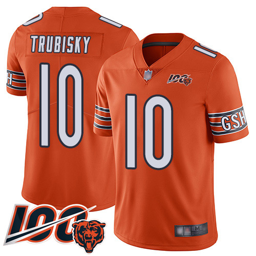 Chicago Bears Limited Orange Men Mitchell Trubisky Alternate Jersey NFL Football 10 100th Season