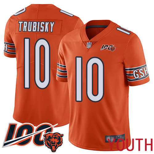 Chicago Bears Limited Orange Youth Mitchell Trubisky Alternate Jersey NFL Football 10 100th Season