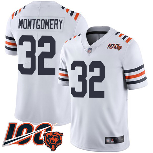 Chicago Bears Limited White Men David Montgomery Jersey NFL Football 32 100th Season